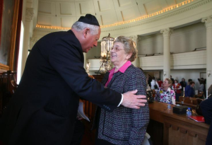Magda Brown with Illinois Gov. Pat Quinn at the 2009 Yom Hashoah Memorial Service Wednesday at the Old State Capitol  (Photo courtesy of The State Journal-Register)