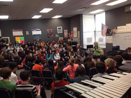 Magda Brown speaks at Northbrook middle school