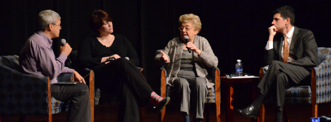 "Magda Brown participates in ""Remembering Kristallnacht"" panel at Aurora University"