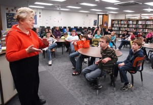 Magda Brown speaks to students at Lena-Winslow Junior High School in Lena, IL. (Photo Courtesy of the Journal Standard)