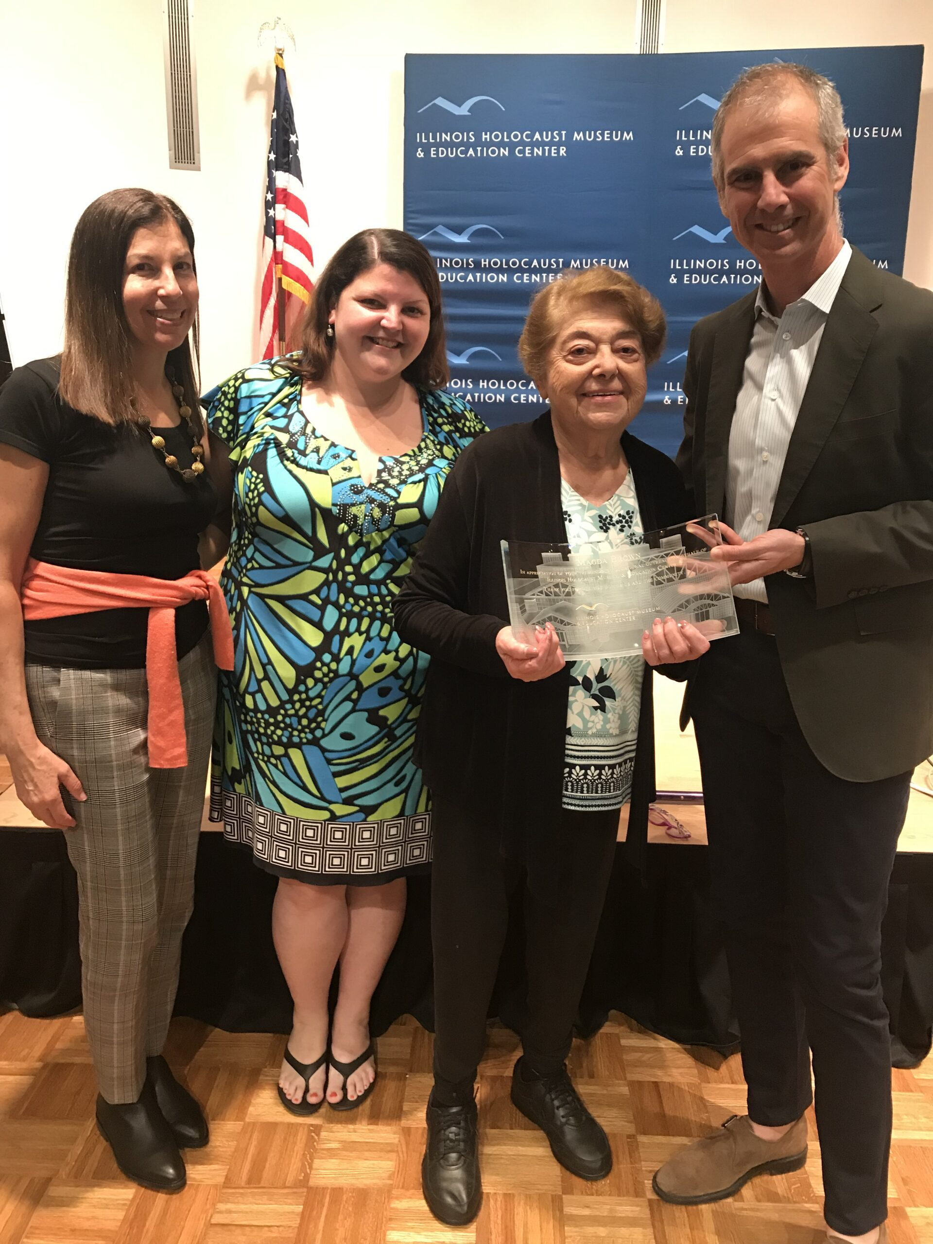 Magda Brown receives an award from the Illinois Holocaust Museum and Education Center